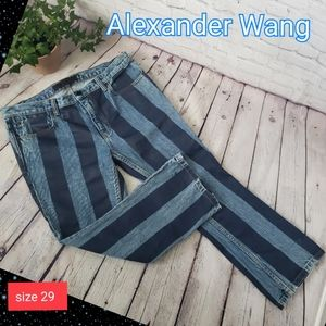 Alexander Wang Mid-Rise Striped Flared Jeans sz 29